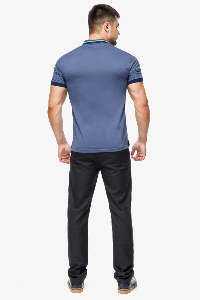 Фирменная футболка поло мужская цвет джинс модель 6422