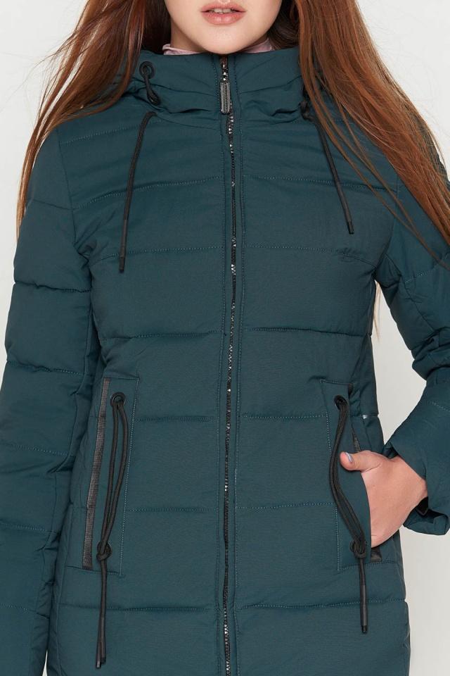 Пуховик женский молодежный зимний цвет бирюза модель 25005