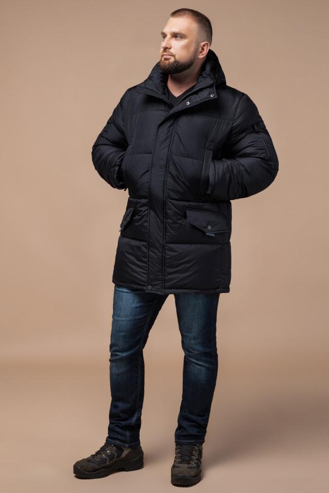 """Удобная мужская куртка большого размера зимняя чёрная модель 3284 Braggart """"Titans"""" фото 3"""