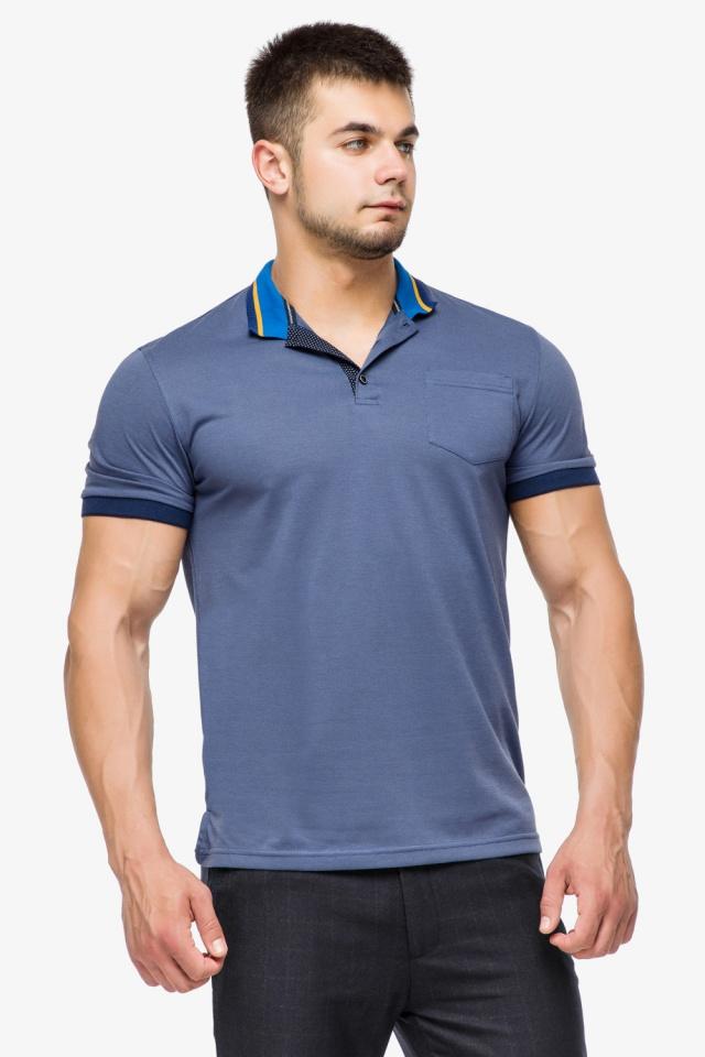 Фирменная футболка поло мужская цвет джинс модель 6422 Braggart фото 3