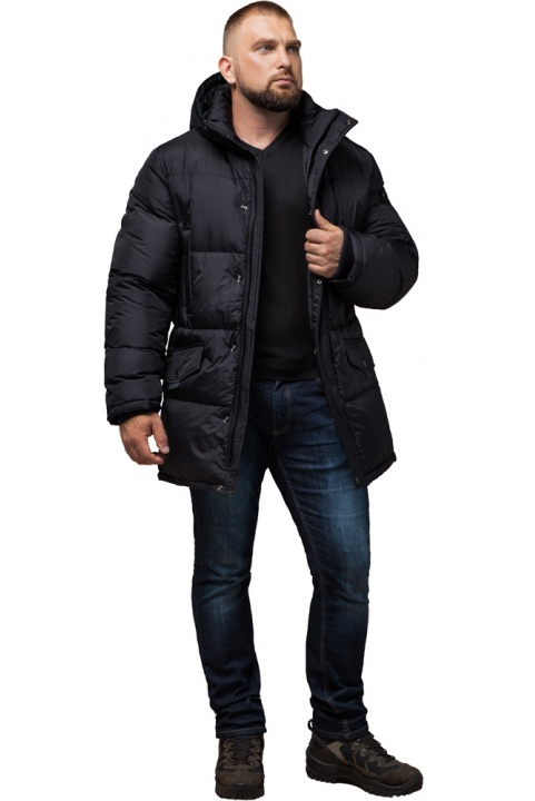"""Удобная мужская куртка большого размера зимняя чёрная модель 3284 Braggart """"Titans"""" фото 1"""