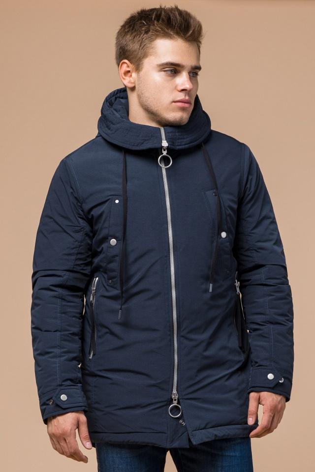 Парка теплая синяя мужская зимняя модель 28431