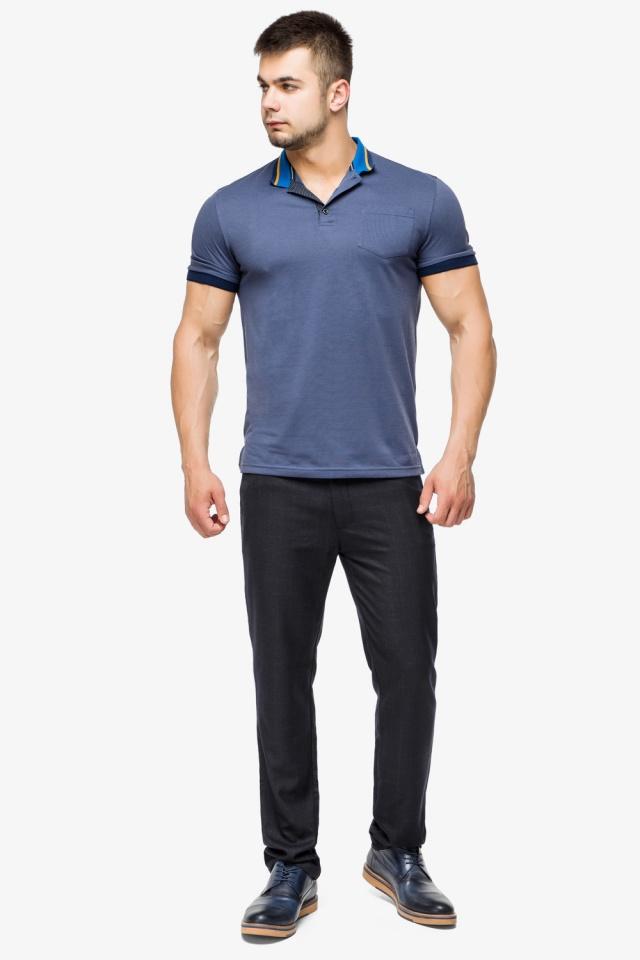 Фирменная футболка поло мужская цвет джинс модель 6422 Braggart фото 4