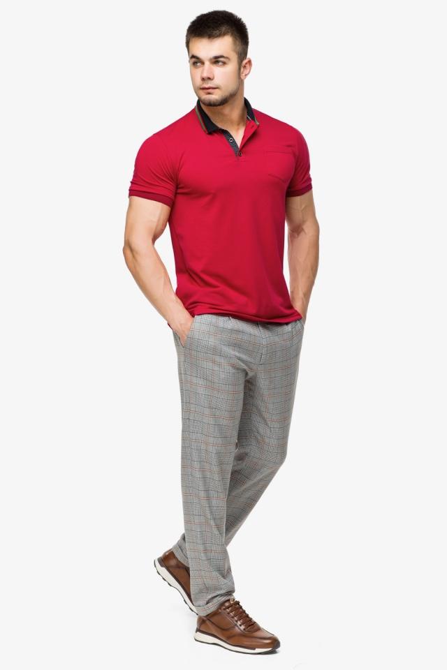 Мужская легкая футболка поло красного цвета модель 6422