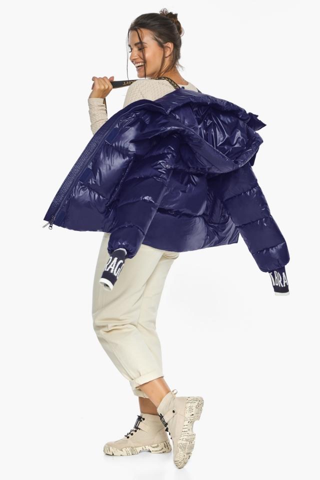 """Куртка синяя брендовая зимняя женская модель 44520 Braggart """"Angel's Fluff"""" фото 4"""