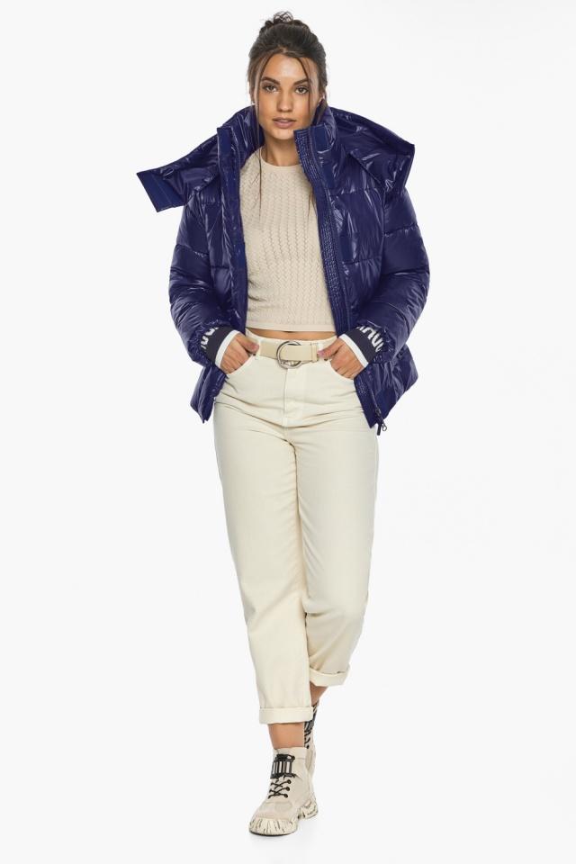 """Куртка синяя брендовая зимняя женская модель 44520 Braggart """"Angel's Fluff"""" фото 3"""