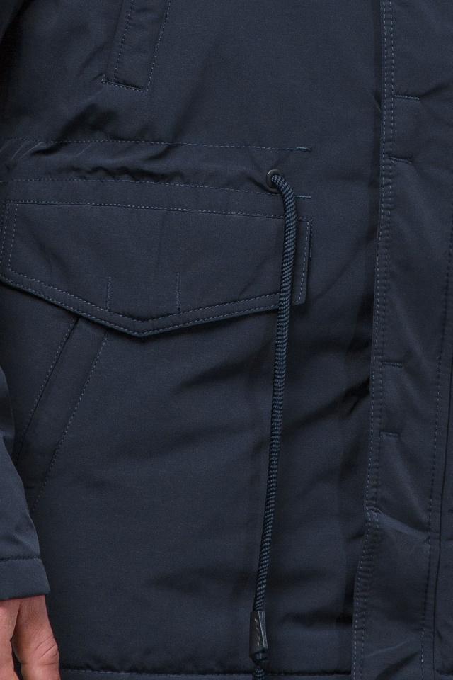 Зимняя темно-синяя парка для мужчин теплая модель 71360