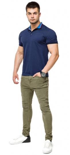 Дизайнерская футболка поло мужская цвет темно-синий-голубой модель 6422 Braggart фото 1