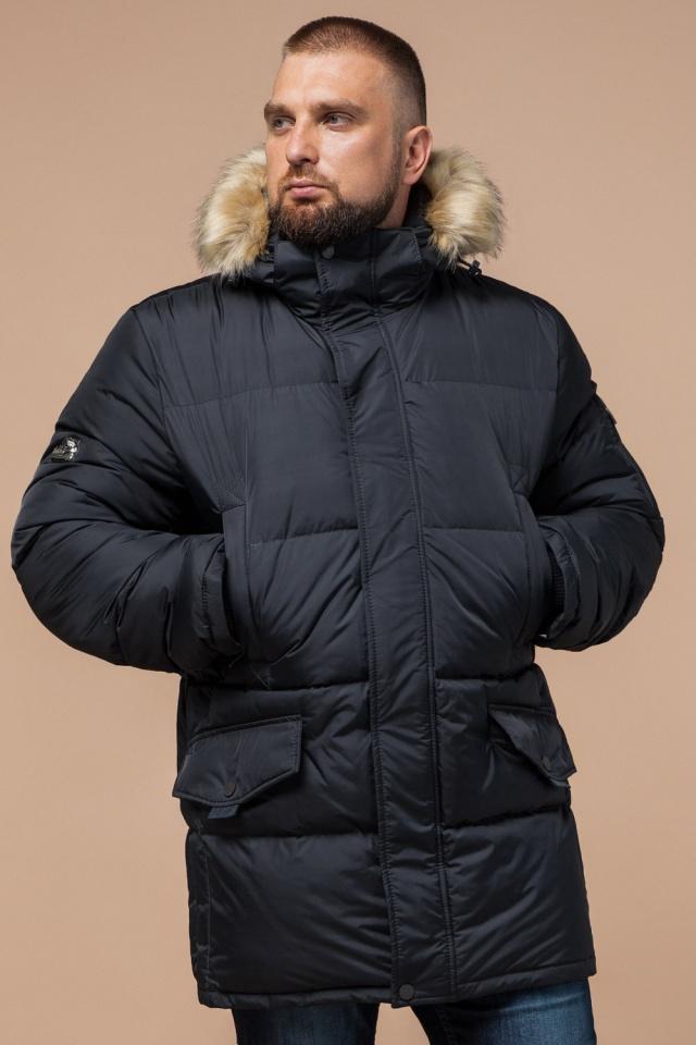 """Чоловіча зимова куртка великого розміру стильна графітова модель 2084 Braggart """"Titans"""" фото 3"""