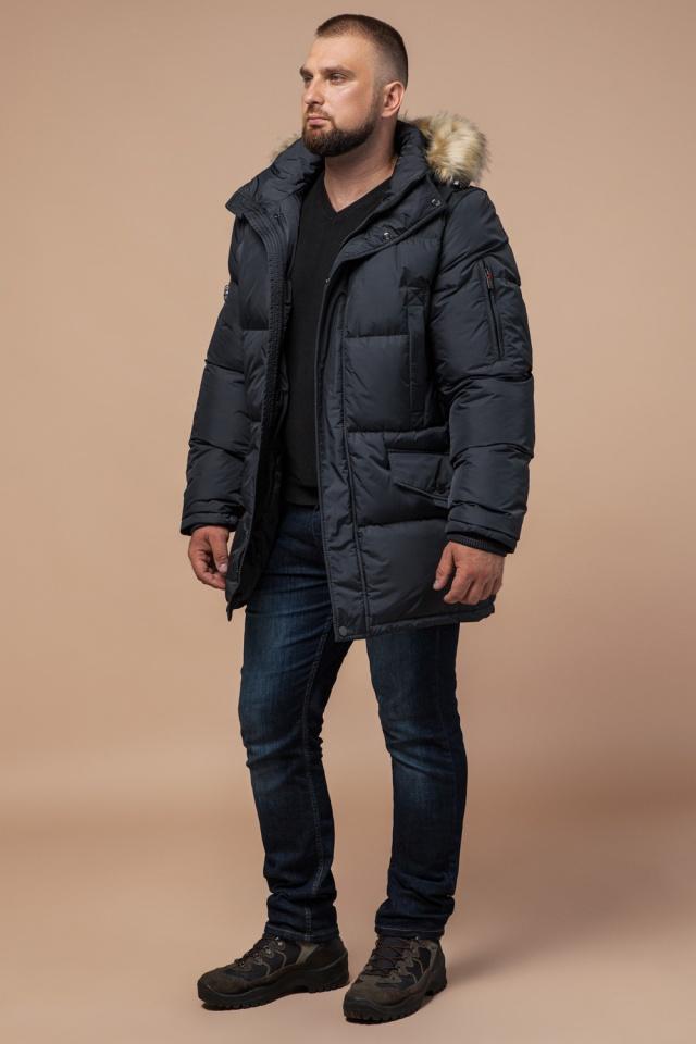 """Чоловіча зимова куртка великого розміру стильна графітова модель 2084 Braggart """"Titans"""" фото 2"""