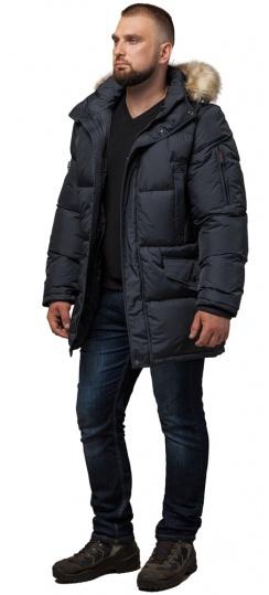 """Мужская зимняя куртка большого размера стильная графитовая модель 2084 Braggart """"Titans"""" фото 1"""