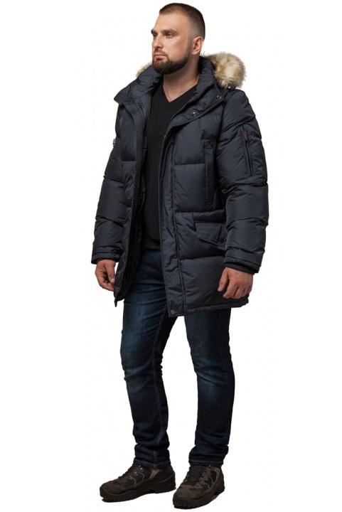 """Чоловіча зимова куртка великого розміру стильна графітова модель 2084 Braggart """"Titans"""" фото 1"""