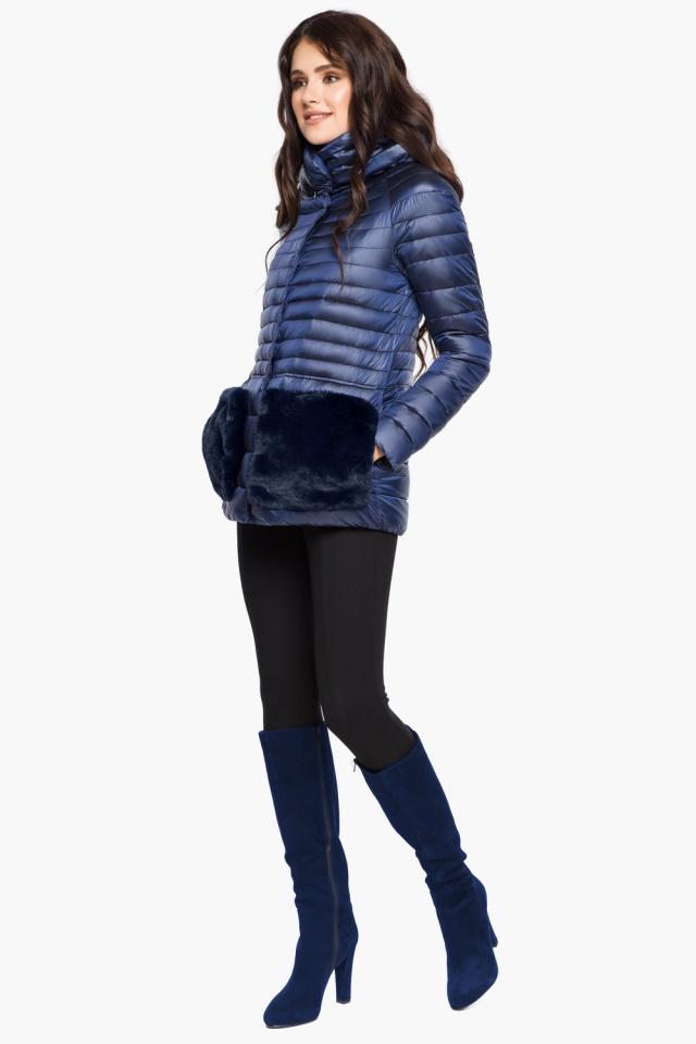 """Сапфировая куртка короткая осенне-весенняя женская модель 15115 Braggart """"Angel's Fluff"""" фото 2"""