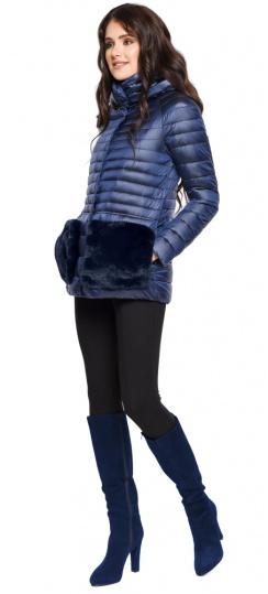 """Сапфировая куртка короткая осенне-весенняя женская модель 15115 Braggart """"Angel's Fluff"""" фото 1"""