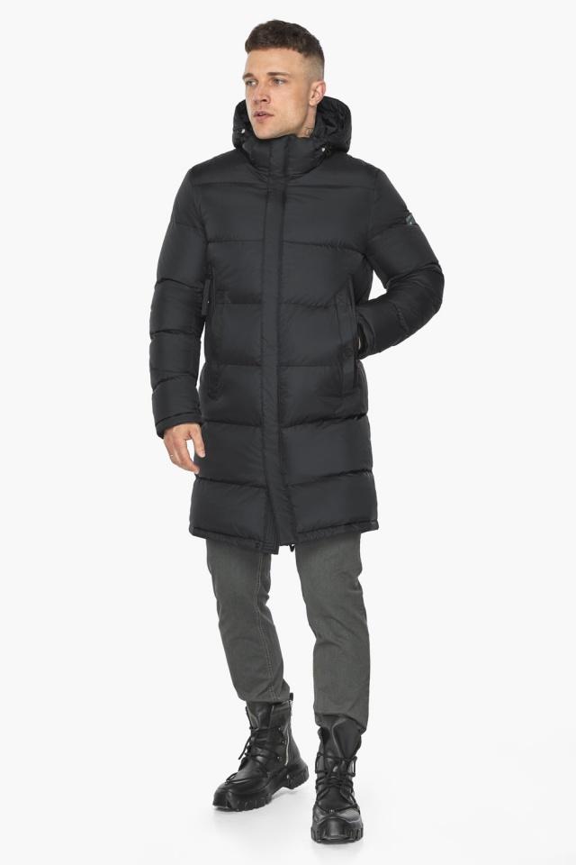 """Длинная куртка для мужчин зимняя графитовая модель 49773 Braggart """"Dress Code"""" фото 2"""