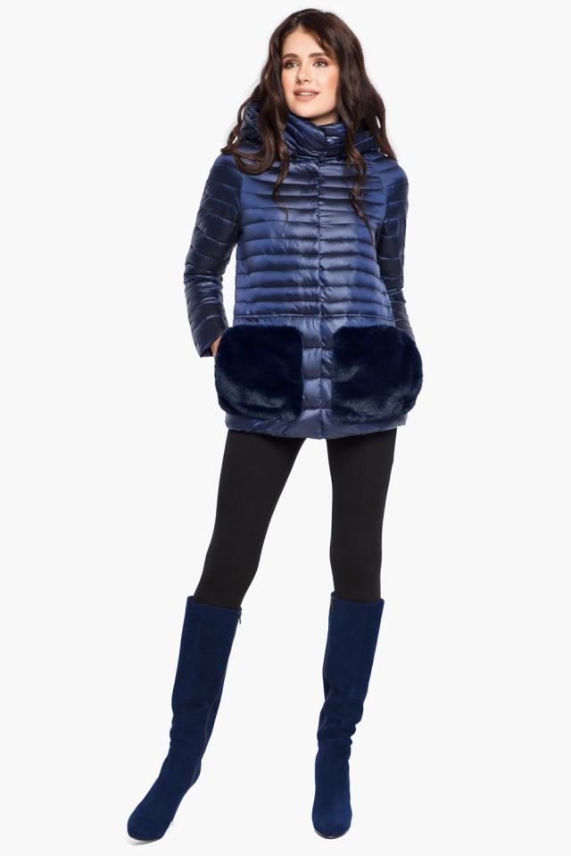 """Сапфировая куртка короткая осенне-весенняя женская модель 15115 Braggart """"Angel's Fluff"""" фото 4"""