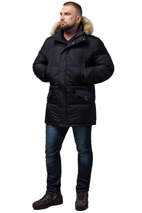 """Чоловіча куртка великого розміру чорна зимова модель 2084 Braggart """"Titans"""" фото 1"""
