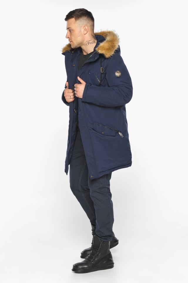 """Куртка – воздуховик стильный мужской зимний тёмно-синий модель 30618 Braggart """"Angel's Fluff Man"""" фото 6"""