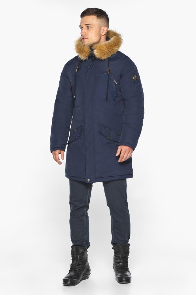 """Куртка – воздуховик стильный мужской зимний тёмно-синий модель 30618 Braggart """"Angel's Fluff Man"""" фото 2"""