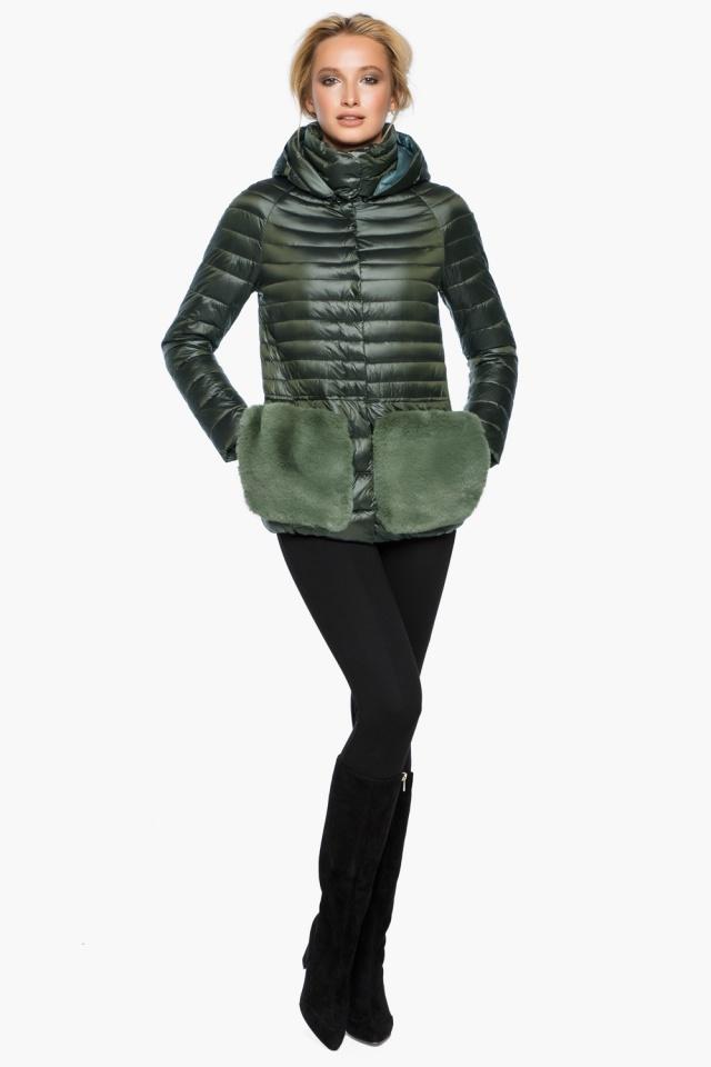 """Куртка с капюшоном женская осенне-весенняя цвет темный хаки модель 15115 Braggart """"Angel's Fluff"""" фото 2"""