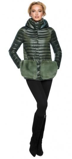 """Куртка с капюшоном женская осенне-весенняя цвет темный хаки модель 15115 Braggart """"Angel's Fluff"""" фото 1"""