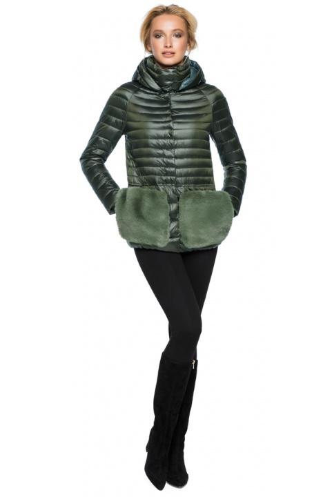 """Куртка з капюшоном жіноча осінньо-весняна колір темний хакі модель 15115 Braggart """"Angel's Fluff"""" фото 1"""