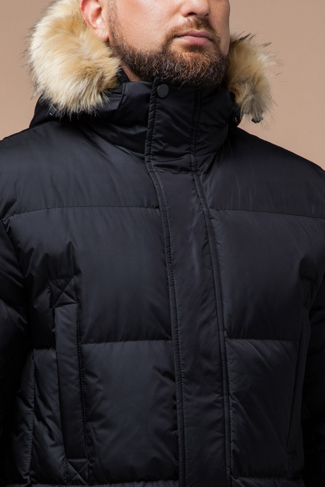 """Мужская куртка большого размера черная зимняя модель 2084 Braggart """"Titans"""" фото 6"""