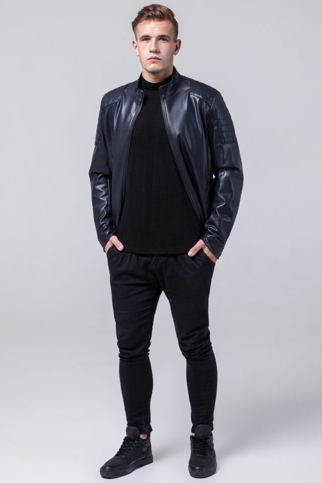 "Темно-синяя куртка мужская легкая осенне-весенняя модель 4129 Braggart ""Youth"" фото 2"
