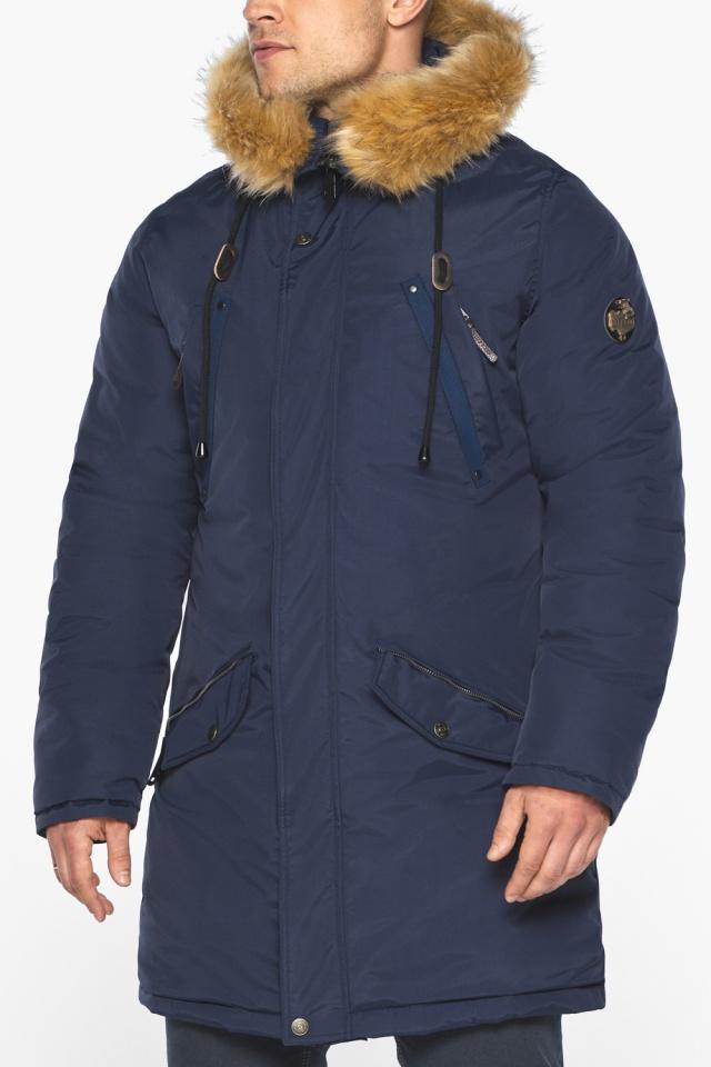 """Куртка – воздуховик стильный мужской зимний тёмно-синий модель 30618 Braggart """"Angel's Fluff Man"""" фото 9"""