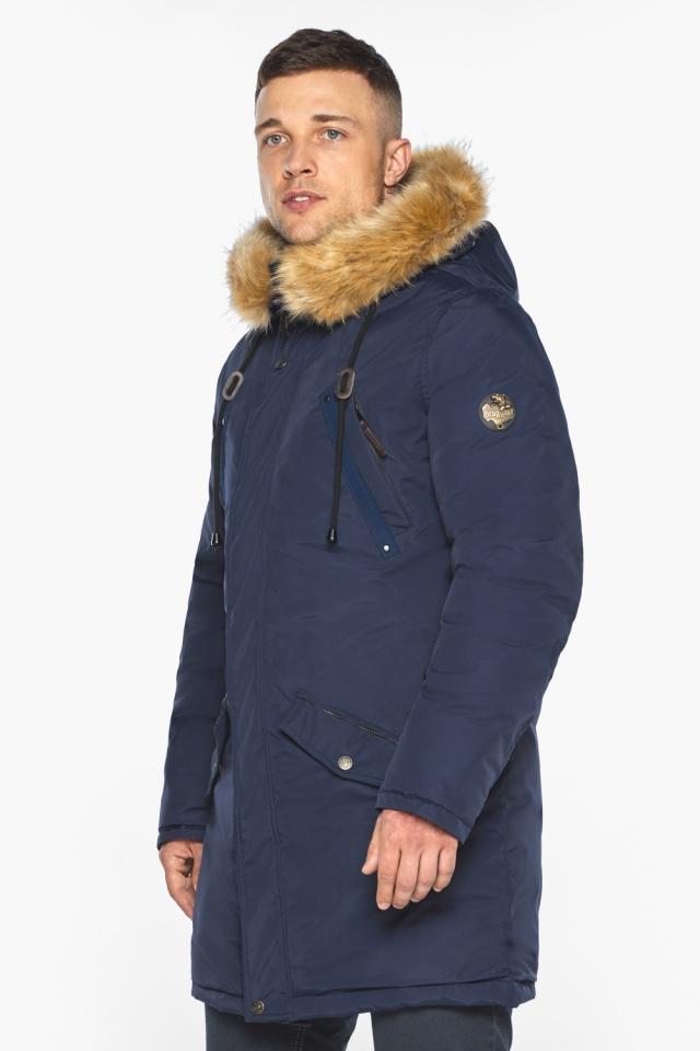 """Куртка – воздуховик стильный мужской зимний тёмно-синий модель 30618 Braggart """"Angel's Fluff Man"""" фото 4"""