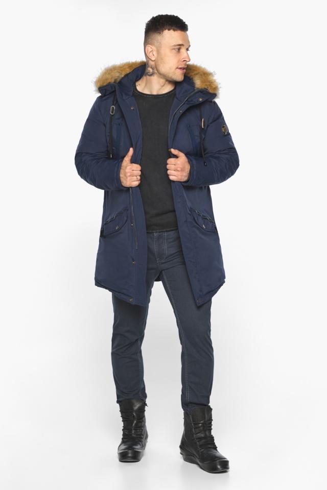 """Куртка – воздуховик стильный мужской зимний тёмно-синий модель 30618 Braggart """"Angel's Fluff Man"""" фото 3"""