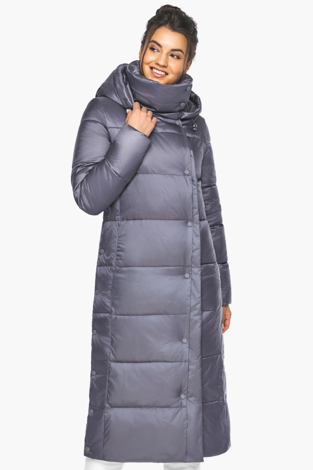 """Женская зимняя куртка длинная цвет жемчужно-серый модель 41830 Braggart """"Angel's Fluff"""" фото 4"""