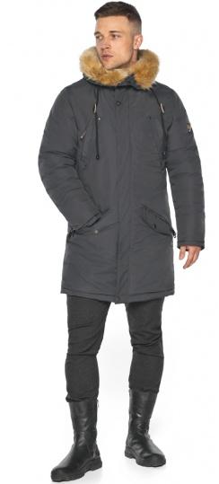 """Куртка – воздуховик графитовый тёплый мужской для зимы модель 30618 Braggart """"Angel's Fluff Man"""" фото 1"""