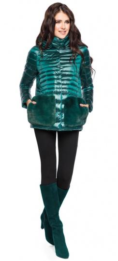 """Изумрудная куртка с брендовой фурнитурой женская осенне-весенняя модель 15115 Braggart """"Angel's Fluff"""" фото 1"""