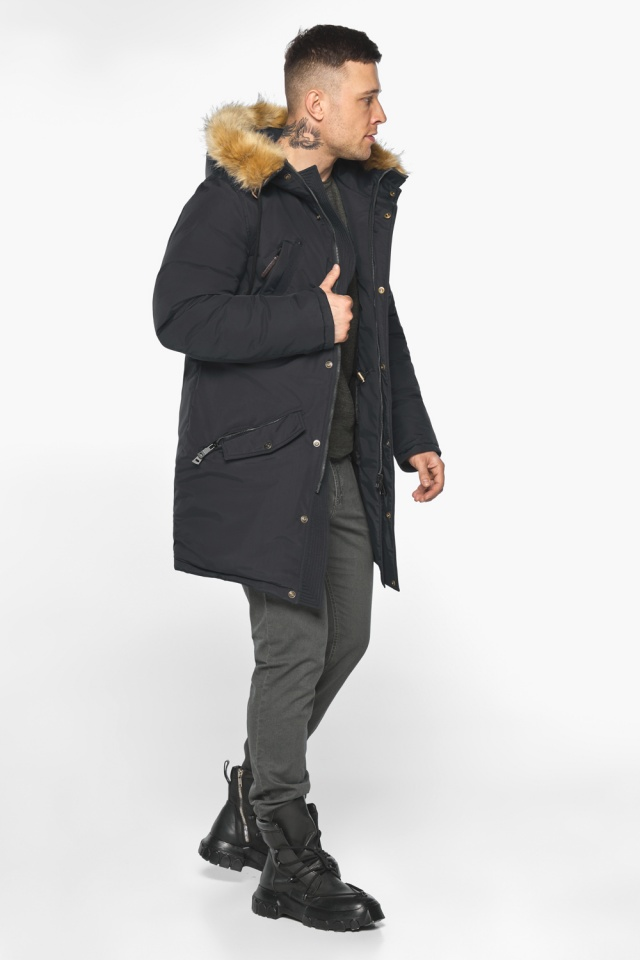 """Куртка – воздуховик свободного кроя чёрный зимний мужской модель 30618 Braggart """"Angel's Fluff Man"""" фото 3"""
