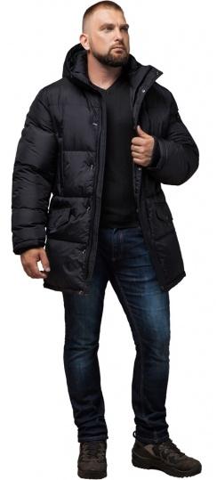 """Зимняя мужская трендовая черная куртка большого размера модель 3284 Braggart """"Titans"""" фото 1"""