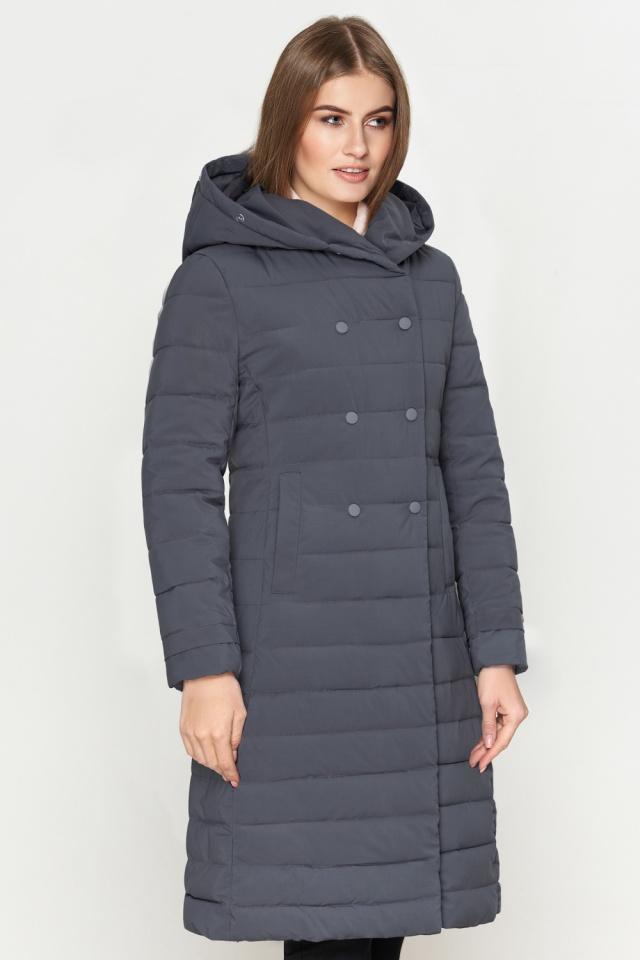 Женская куртка серая с меховой опушкой зимняя модель 6612