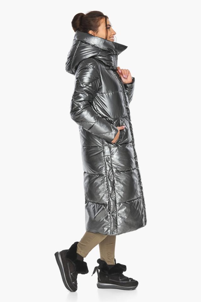 """Люксовая куртка женская цвет темное серебро модель 41565 Braggart """"Angel's Fluff"""" фото 8"""