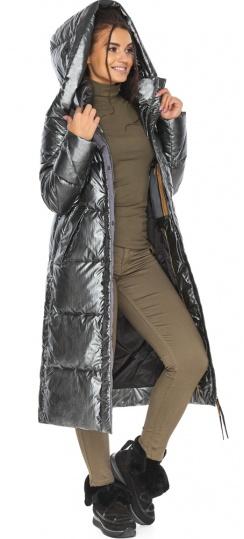 """Люксовая куртка женская цвет темное серебро модель 41565 Braggart """"Angel's Fluff"""" фото 1"""