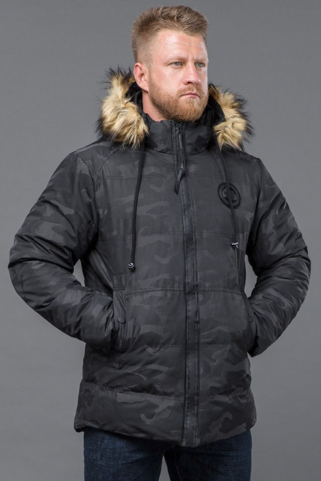 Куртка дизайнерская зимняя мужская цвет черный модель 53759 Tiger Force фото 3