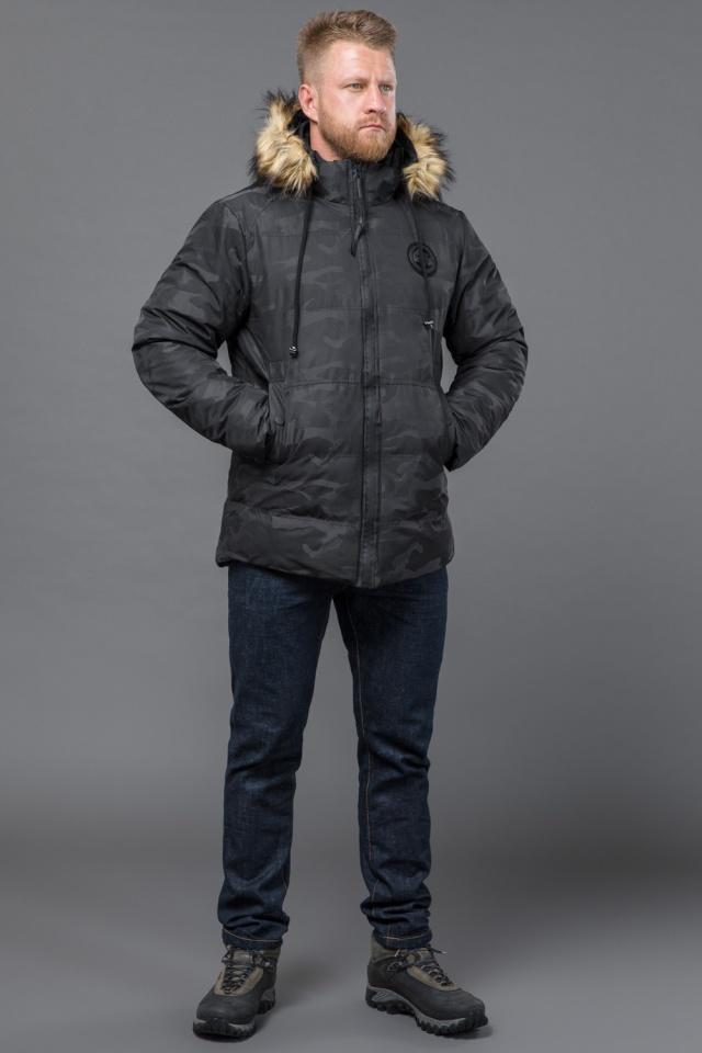 Куртка дизайнерская зимняя мужская цвет черный модель 53759 Tiger Force фото 4