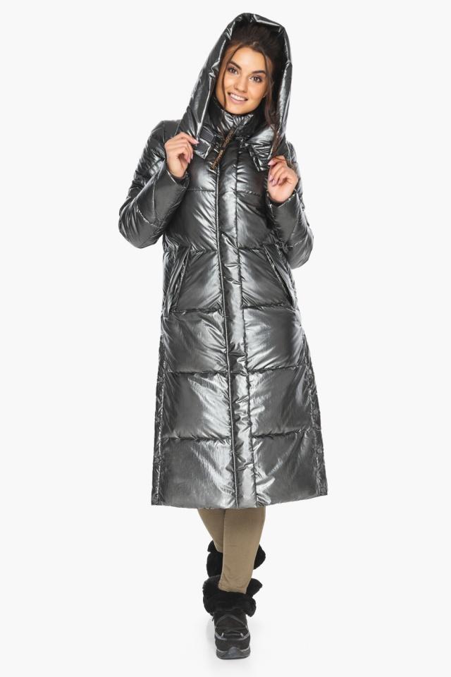 """Люксовая куртка женская цвет темное серебро модель 41565 Braggart """"Angel's Fluff"""" фото 7"""