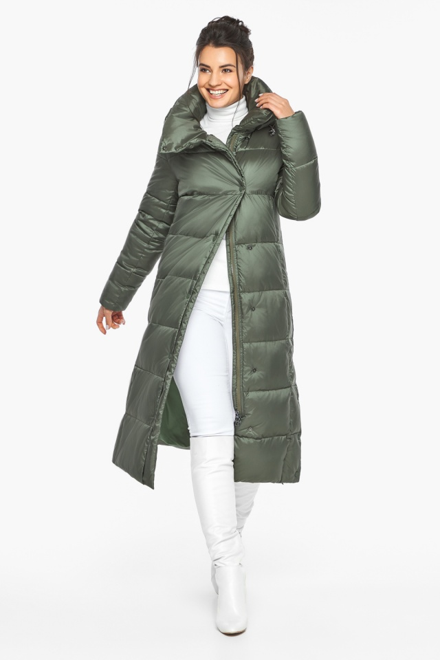 """Оливковая куртка зимняя женская качественная модель 41830 Braggart """"Angel's Fluff"""" фото 2"""
