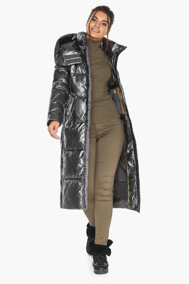 """Люксовая куртка женская цвет темное серебро модель 41565 Braggart """"Angel's Fluff"""" фото 5"""