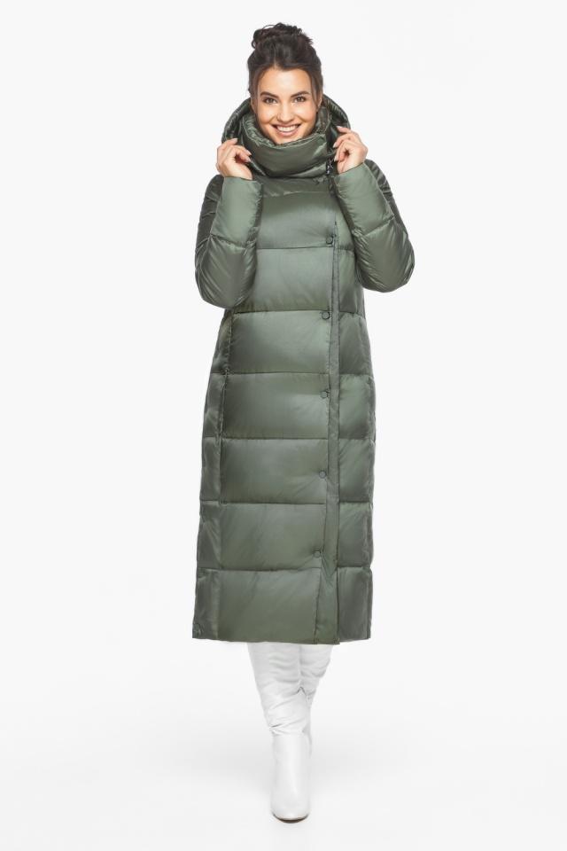 Оливковая куртка зимняя женская качественная модель 41830
