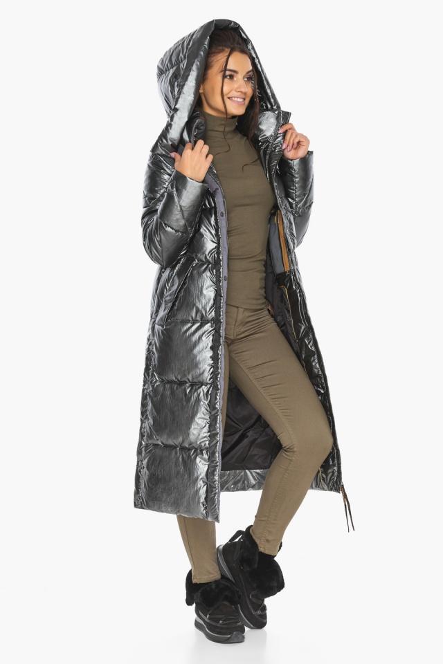 """Люксовая куртка женская цвет темное серебро модель 41565 Braggart """"Angel's Fluff"""" фото 2"""