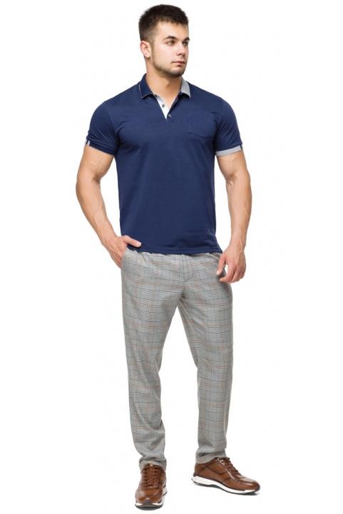 Футболка поло мужская стильная цвет темно-синий-серый модель 6990 Braggart фото 1