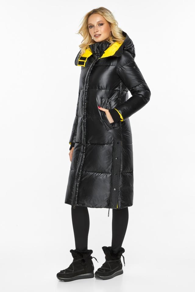 Куртка черная женская на зиму теплая модель 42650