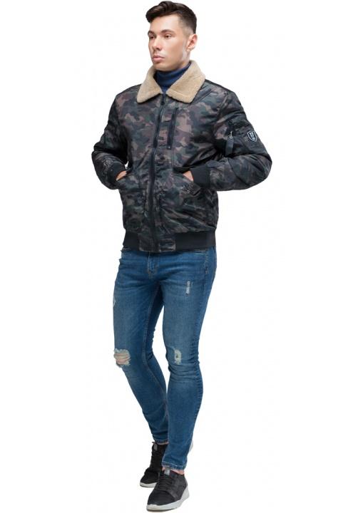 "Темно-серый бомбер осенне-весенний мужской с воротником модель 38666 Braggart ""Youth"" фото 1"
