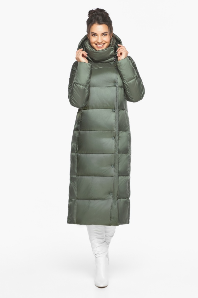 """Оливковая куртка женская трендовая модель 41830 Braggart """"Angel's Fluff"""" фото 3"""